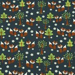 Sweatstoff fox in the forrest, blau